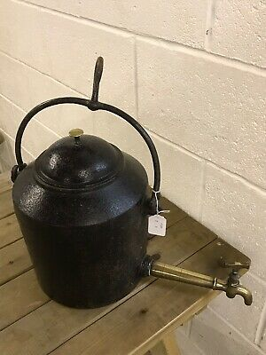 Antique Large  3 Gal Gypsy Range  Iron Kettle /Urn With Brass Tap