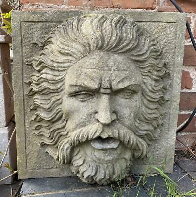 Stone Garden Feature / Fountain - Hand Carved - Mask / Mans Face - 40cm - Heavy