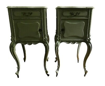 A pair antique Victorian Nightstands bed- end tables marble top 19th c Baroque