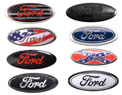 "2004-2016 Ford 9"" x 3.5"" BLACK OVAL CHROME LOGO Emblem Fits: Grille & Tailgate"
