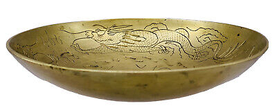 """Antique VTG Hand Engraved Dragons Lucky Chinese Solid Brass Bowl, 8"""" Wide"""