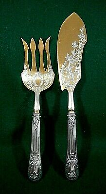 H. Meyen & Co. 800 Silver Fish Serving Set with Vermeil, ca. 1880