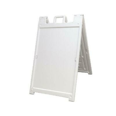 Plasticade Deluxe Signicade Portable Folding Double Sided Sign Stand, White