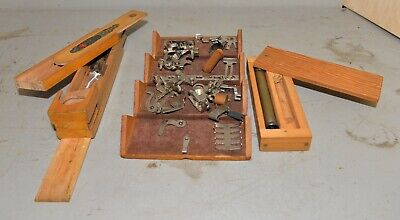 3 wood boxes Singer 1889 puzzle box sewing machine parts clock weight & more lot
