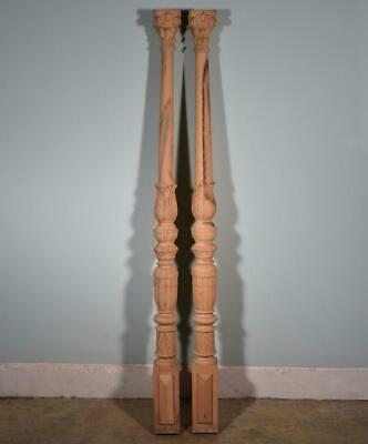 """*70"""" Pair of Vintage Unfinished Oak Support Posts Pillars Architectural"""