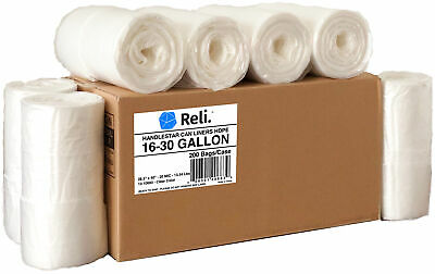 Reli. HandleStrong 30-33 Gallon Trash Bags with Handles (200 Count Bulk), Clear