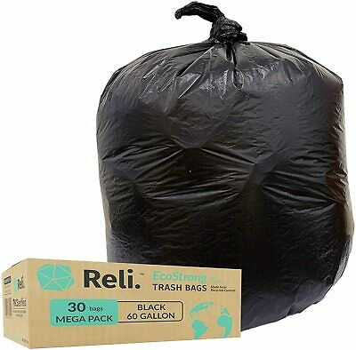 Reli. EcoStrong 55 Gallon Trash Bags (30 Count) Eco-Friendly Recyclable, Black