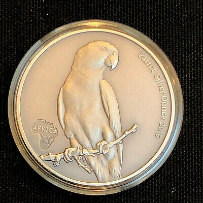 2016 GHANA 5 CEDIS   PARROT - RARE FULLY ANTIQUED  ONLY 2,000 MINTED 1 oz SILVER