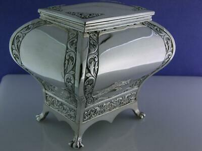 Antique Indian solid Silver Tea Caddy GRISH CHUNDER DUTT ~ Bhowanipore Calcutta