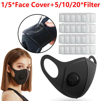 Breathable Washable Anti-Fog Haze Face Mouth Cover Protetion W/ Filter Element