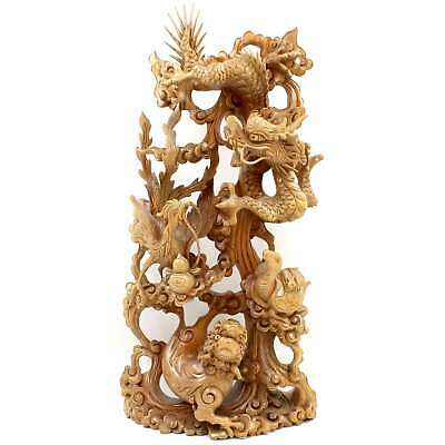 Chinesisches Holz Relief (60cm) Drache Fenghuang Skulptur China - AsienLifeStyle