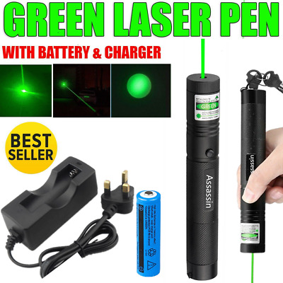 900Miles Rechargeable Green Laser Pointer Pen Astronomy Beam&Charger UK Shipping