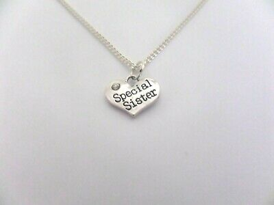 worlds okayest aunt Charm Heart Pendant Necklace Sterling Silver Cubic Zirconia