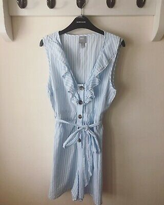 asos playsuit Striped Pale Blue And White With Frills Size 8