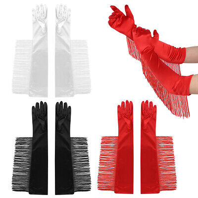 1 Pair Ladies Vintage Elbow Length Long Opera Pageant Satin Gloves W/Fringe Prom