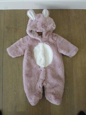Next Pink Rabbit Bunny Pram Suit - Faux Fur - Fluffy - Easter - Up To 3 Months