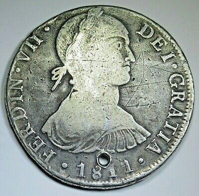 1811 Imaginary Bust Spanish Peru Silver 8 Reales Antique Colonial Dollar Coin