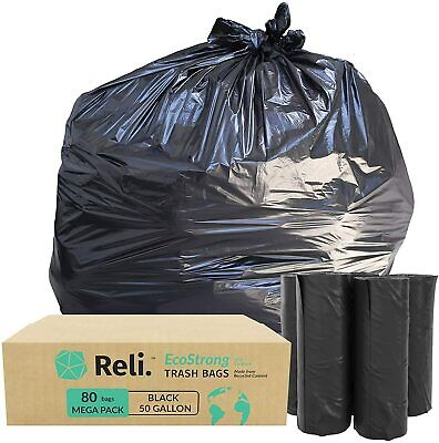 Reli. EcoStrong 50 Gallon Trash Bags (80 Count) Eco-Friendly Recyclable, Black