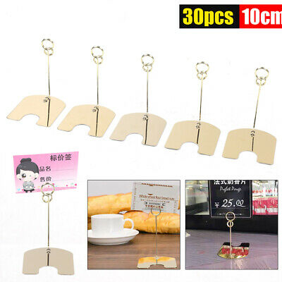 30x Bakery Card Menu Memo Display Stand Clip Gold Iron Supermarket Hotel Label