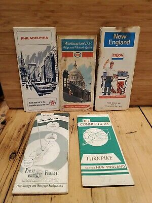 Vtg Road Maps United States Texaco Esso Exxon Lot Of 5
