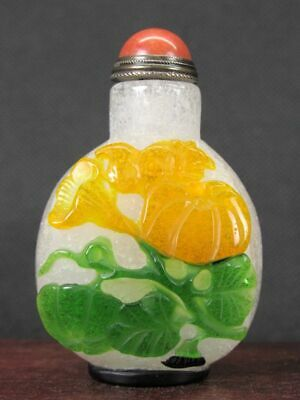 Chinese Mouse On Melon Rabbit Carved Peking Overlay Glass Snuff Bottle