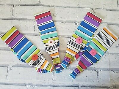 Headband & buttons for face mask, nurses, rainbow stripe pattern