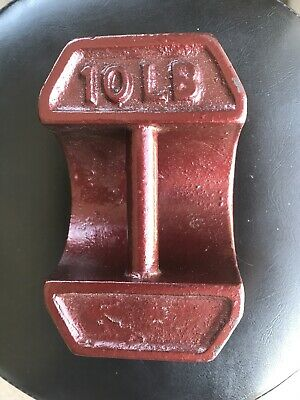A vintage 10lb Cast Iron Scale Block Weight with Handle Avery Crane Style