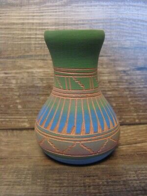 Navajo Pottery Hand Etched Pot Vase by Michael Charlie