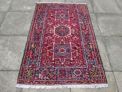 Antique Worn Vintage Traditional Hand Made Oriental Red Blue Wool Rug 170x115cm