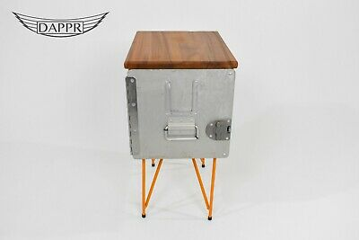 Galley Box Side Table -Elm top Aircraft Upcycled Aviation Furniture Orange 2