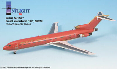 Inflight IF722009 Braniff B727-200 Ultra Red N8859E Diecast 1/200 Model Airplane