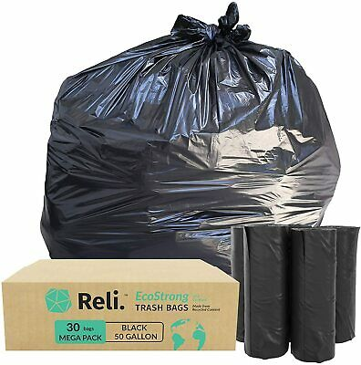 Reli. EcoStrong 50 Gallon Trash Bags (30 Count) Eco-Friendly Recyclable, Black