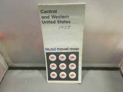 Vintage 1973 CENTRAL AND WESTERN UNITED STATES  MOBIL Travel Map