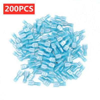 200 Female Insulated Wire Terminal Blue 16-14AWG Quick Disconnect Connectors