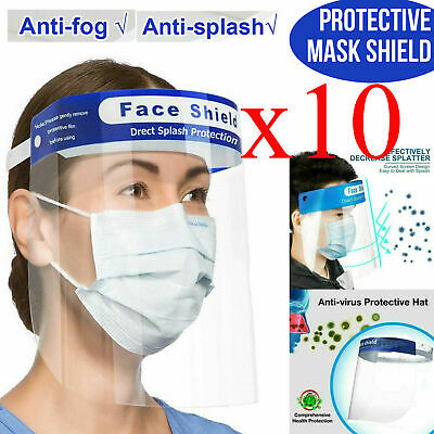 10 PCS Safety Face Shield Protection Cover Guard Reusable Transparent Anti-Fog