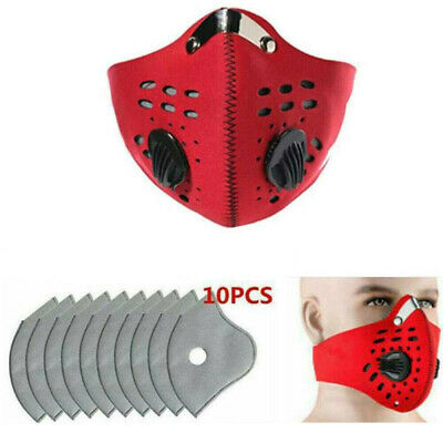 PM2.5 Activated Carbon Face Cover Mouth Muffle W/ Valve Air Purifying Washable