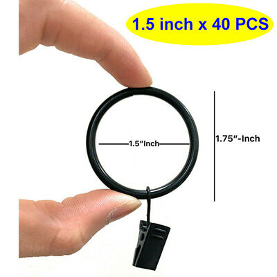 Black Metal High-Quality Drapery Curtain Rings With Clips (40 Pcs)