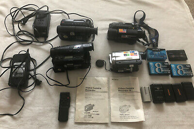 Sony Video Camera CCD-TR93 Lot Of 4 Recorders DCR-TRV7 CCD-TR416 Remote