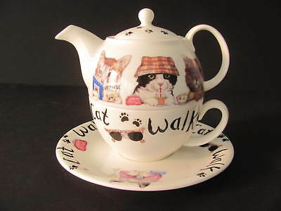Roy Kirkham Fine Bone China Cat Animal Fashions Tea For One - Made In England