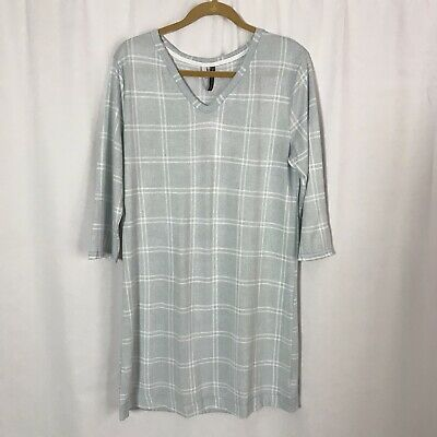 NEW Womens Size Large Sleep Gown Shirt Dress Jaclyn Intimates Gray SOFT EC112