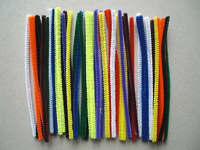 100 mixed pipe cleaners chenille craft stems mixed colours 150mm x 4mm
