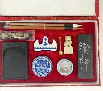 Vintage Asian Artist Calligraphy Set Painting Set 2 Brush,Ink,Stone,Stamp,Stand
