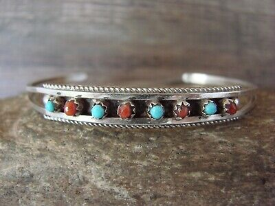 Zuni Sterling Silver 8 Stone Turquoise Coral Row Bracelet - S. Livingston