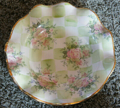 "Mackenzie Childs 1995 Wedding Sweet Pea Green Ruffled Edge 9"" Salad Bowl Plate"