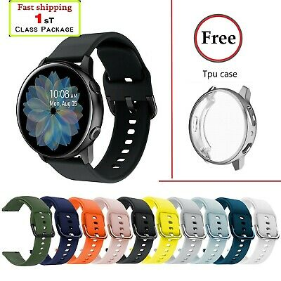 (FREE Tpu case cover) Samsung Galaxy Watch Active 2 40 44mm Silicone Sport Band
