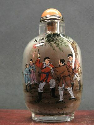 Chinese Traditional Ancient Person Inside Hand Painted Glass Snuff Bottle