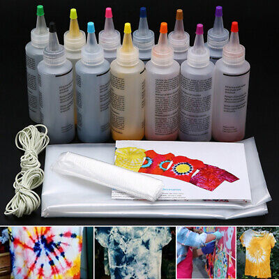 12pcs/set One Step Tie Dye Kit Vibrant Fabric Textile Permanent Paint Tool Kits