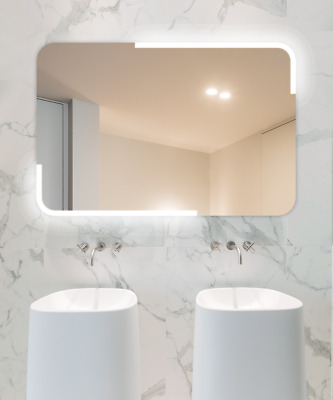 LED Lighted Bathroom Wall-Mounted Makeup Mirror Anti-Fog Waterproof Touch Sensor