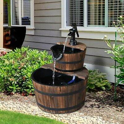 2 Tier Wooden Water Pump Fountain Garden Feature Decor Ornament Barrel Design