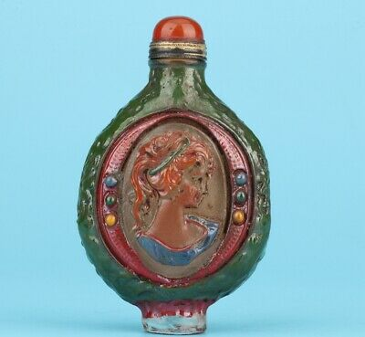 Coloured Glaze Hand-Carved Beauty Snuff Bottle High-End Gift Collection